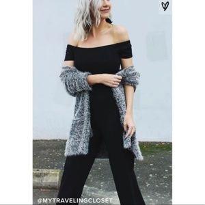 Lulu's Alleyoop Black Off the Shoulder Jumpsuit